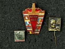 3 Memorial Pin Badges of Victims of WW2 Nazi Concentration Camps. USSR-GDR
