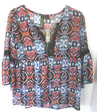 PETTICOAT ALLEY~Red Blue Black V-Neck SHEER BLOUSE Shirt Top~Women's Small~NWT
