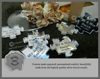 Personalised Silver Puzzle Pieces, Favours, Table Decorations, Favours,Weddings