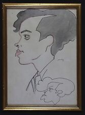 Alejandro PARDIÑAS CABRÉ (1890-1969) Portrait de profil,dessin à l'encre Cuba .