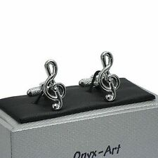 Treble Clef Musical Note Cufflinks mens novelty gift In Gift Box Onyx art GMC61