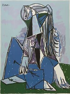 """PABLO PICASSO """"The Thinker"""" Limited Edition Colour Off Set Lithograph"""