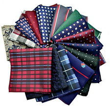 10 Pcs Men Handkerchief Silk Pocket Square Paisley Polka Hanky Wedding Gift JK