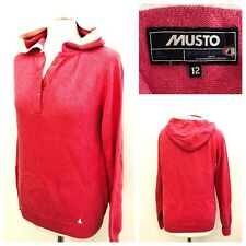 Musto Ladies Cashmere Blend Knit Pink Hooded Jumper Casual Winter Work Size 12