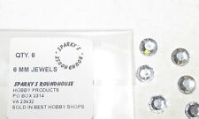 """6 OF 15/64"""" (6 MM) HEADLIGHT JEWELS, FLAT BACK RHINESTONE BY SPARKY'S ROUNDHOUSE"""