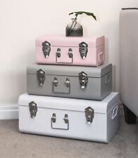 SR 28124 Vintage Style Metal Trunks with Stack-able Chrome Handle, White/Grey/Pink - Set of 3