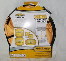 Sunshades 5 Pc Springshade Chevrolet Chevy Logo Gold Front Rear & Side *New