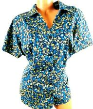 Basic editions navy blue yellow plus size floral short sleeve button down top 1X