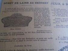 """PATRON ORIGINAL  POUPEE """" BLEUETTE """" BERET EN LAINE  AU CROCHET FEVRIER 1917"""