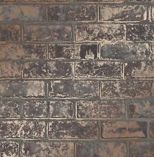 FineDecor Wallpaper - Luxury Loft Brick Wall - Metallic Copper Effect - FD41955