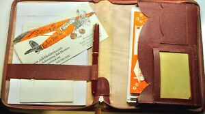 """c.1958 PARKER Duofold """"Slimfold"""" RED Fountain Pen with Writing Case & contents"""