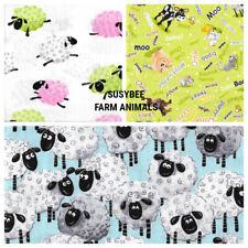 QUILTING/CRAFT FABRIC 100% COTTON SUSYBEE SHEEP/ FARMYARD ANIMAL  DESIGNS