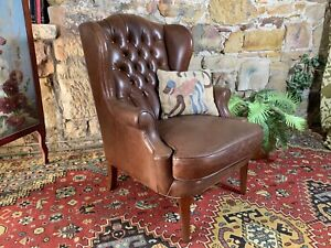 Vintage Chesterfield Aged Leather Wingback Armchair~Lounge Chair~4 available