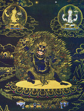 "24"" SILK BROCADED WOOD SCROLL BLACK THANGKA: Vajrapani, Three Lords of Buddha"