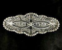 "🟢 Antique ABP American Brilliant Period Cut Glass DOUBLE VESICA 12"" Celery Dish"