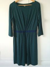 Boden Jersey Dress In Green & Navy Size 14R