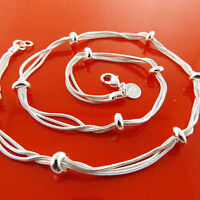 Necklace Chain Real 925 Sterling Silver SF Ladies Statement Bead Link Design 18""