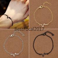 Titanium Steel Medical ECG Bracelets Chain Bangle Charms Unisex Fashion Jewelry