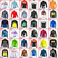 New Mens Team Cycling Thermal Fleece Jersey Cycling Jersey Long Sleeve Bike Tops