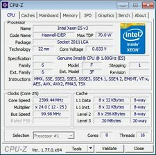 Intel Xeon e5 v3 8c/16t 2,0 - 2,5 GHz zócalo 2011-3 x99 70 vatios similar i7 5820
