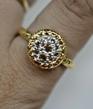 Sterling Silver Gold Tone Cubic Zirconia Ring Size 10 V