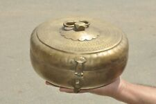 Old Brass Big Engraved Handcrafted Solid Round Bread / Chappati Box