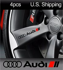 4 AUDI Stickers Decals Wheels Rims Door Handle Mirror Sport A6 S7 Q7 Black