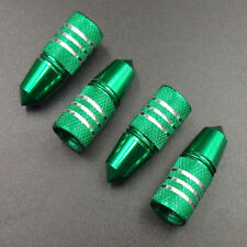 4pcs Green Aluminum Bullet Shape Car Wheel Tire Valve Air Stem Dust Caps Cover