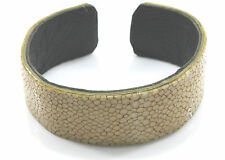 Finest Stingray Leather Wide Cuff Bangle Calf Leather Covered On The Inside.