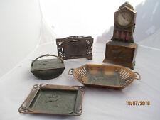 antike, 5 tlg. Jugendstil Schreibtischgarnitur mit Jagdmotiv, Tischuhr zum aufzi