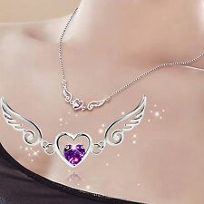 925 Sterling Silver Angel Wing & Heart Pendant Elegant Necklace Rhinestone