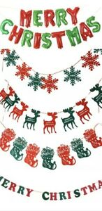 Christmas Decorations Bundle - Foil Balloon Bunting Banner Garland Festive Decor
