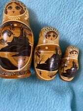 Vintage Wooden Russian Nesting Dolls ~ Set Of 3 ~ High Detail~ Signed~ Euc