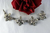 Sterling Silver 41g Taxco Mexico Grapes Bracelet CAT RESCUE