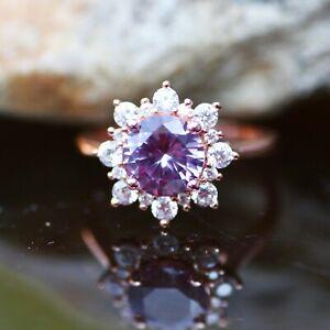 Lab Made Alexandrite Engagement Ring 14k Rose Gold Vermeil, June Birthstone