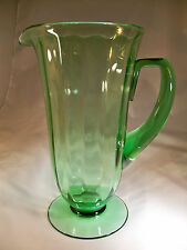 "FOSTORIA FAIRFAX GREEN #5000 10"" TALL FOOTED BEVERAGE PITCHER!"