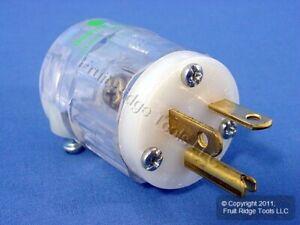 New Leviton HOSPITAL TRANSPARENT Straight Blade Plug NEMA 5-20P 20A 125V 8315-CT