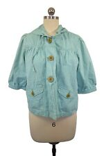 Roxy Womens Blue Plaid Jacket Size Large 3/4 Sleeve Hoodie Beach Wooden Buttons