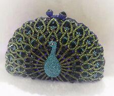 Evening luxury Peacock Multi color crystal clutch purse handmade handbag