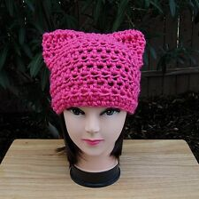 Hot Pink Pussy Cat Hat Soft Pussyhat Handmade Crochet Knit Dark Neon Pink Beanie