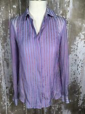 THEORY Multi Colored Silk Striped Button Down Damina Jovial Blouse Size Petite