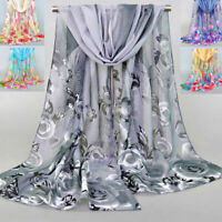 Women Chiffon Scarf Long Shawl Flower Feather Printed Scarves Neck Wrap Fashion