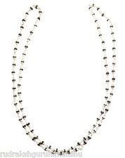 Black Tulsi Beads Mala In Silver caps