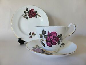 Vintage Grosvenor Trio, 1950s Dark Pink Roses Tea Cup, Saucer + Cake Plate