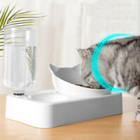 2 in 1 Cat Dog Food Dish Water Feeder Drinker Dispenser Automatic Puppy Pet Bowl