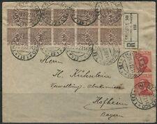 1922 28 MAR RACCOMANDATA DA TRIESTE PER LA GERMANIA BELLA AFFRANCATURA 3 SERIE !