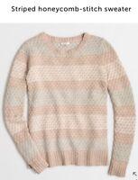 J. Crew S Striped Honey-comb Stitch Wool Blend Sweater