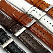 Mens Genuine Leather Watch Strap Band Colour Sizes 16mm 18mm 19mm 20mm 22mm 24mm