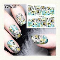 Nail Art Water Decals Stickers Transfers Pastel Spring Flowers Gel Polish YZW135