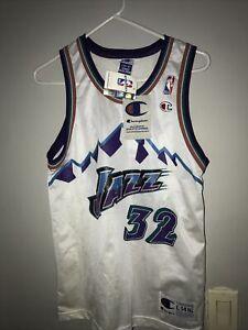 Vintage #32 Karl Malone Champion Utah Jazz Basketball Jersey - Size L(14-16)